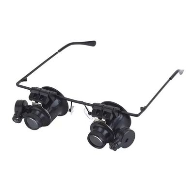 20X Glasses Type Double Eye Magnifier Watch Repair Tool Magnifier with Two Adjustable LED Lights