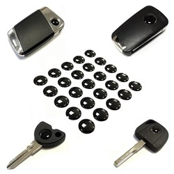 Black LOGO 9-10-12-14-15mm for Remotes and Keys 50PCS - Thumbnail